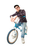 The young guy with a bicycle isolated on a white Stock Image