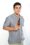 Young guy with bottle of beer Stock Photos