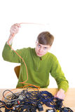 The young guy with cables Stock Photo