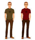 Young guy in casual clothes with glasses Stock Images