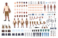 Young guy character constructor. Adult male creation set. Different postures, hairstyle, face, legs, hands, clothes