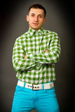 Young guy in a checkered shirt Royalty Free Stock Photo