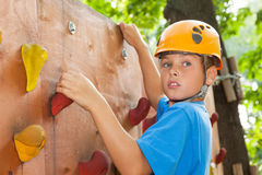 Guy with  climbed equipment on the top of climbing wall. Stock Images
