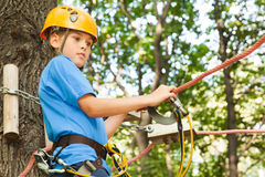 Guy with climber equipment focused  for moving. Stock Photography
