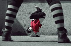 Young guy dancing breakdance on the street Royalty Free Stock Photos