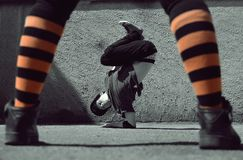 Young guy dancing breakdance on the street Royalty Free Stock Image