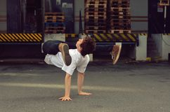 Young guy dancing breakdance on the street. Czech Republic Royalty Free Stock Images