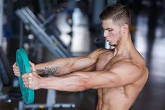 A young guy is doing an exercise with a pancake from a bar on a blurred background of the gym. A guy hardened with a bare torso doing an exercise with a pancake Royalty Free Stock Photo