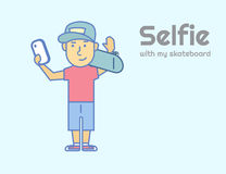 Young guy doing selfie with skateboard royalty free illustration