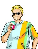 Young guy drinking a soda Royalty Free Stock Images