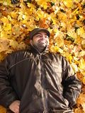 A young guy enjoying the bed of fall leaves Royalty Free Stock Photography