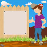 Young guy in front of a fence. Vector illustration of a young haired guy in front of the fence, show us an empty banner vector illustration