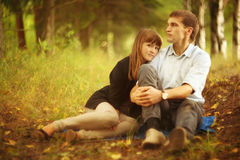 Young guy and girl on nature Stock Photography