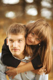 Young guy and girl on nature Stock Image
