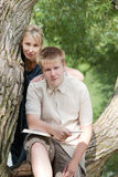 Young guy and the girl with textbooks Stock Photography