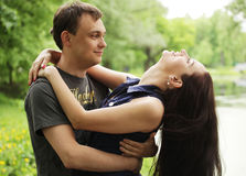 Young guy with girlfriend Stock Photos