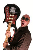 Young guy with guitar shout. Bald guy with guitar shout Stock Images