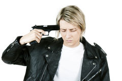 A young guy with a gun Stock Photo