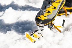 A young guy hiker dresses climbing Crampons over mountaineering shoes For walking through Glacier. A young guy hiker dresses climbing Crampons over Royalty Free Stock Images