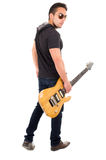 Young guy holding electric guitar Stock Photo