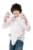 Young guy holds batch of money Stock Photography