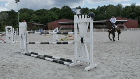 Young guy jumping over barrier at the horseback stock video footage