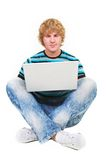 Young guy with laptop Stock Image