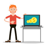 Young guy with laptop. Young guy stands pointing his finger at the laptop with which he can make money. Illustration in flat style. . White background Stock Photos