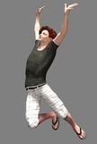 Young guy leaping in joy. 3d render of a young guy in casual wear, leaping in joy Royalty Free Stock Photo
