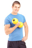 A young guy lifting a dumbbell Royalty Free Stock Photos