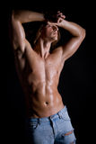 Young guy with long hair, naked Royalty Free Stock Photos