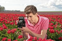 Young guy making a picture Royalty Free Stock Photography
