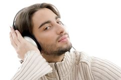 Young guy male enjoying music with headphones Royalty Free Stock Photos