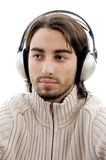 Young guy male enjoying music with headphones Royalty Free Stock Photo