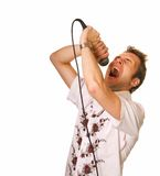 Young guy with a microphone stock photo