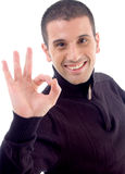 Young guy with okay hand gesture Stock Images