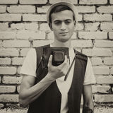 Young guy photographer hipster Royalty Free Stock Photography