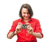 Young guy photographs something. Stock Photography