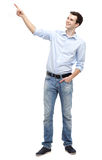 Young guy pointing up Royalty Free Stock Photography