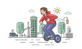 Young guy in red hoody riding hoverboard on eco-city background. Flat line vector illustration. Isolated on white royalty free illustration