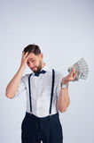 Young guy shocked his earnings Royalty Free Stock Photos