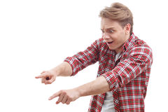 Young guy showing fear Royalty Free Stock Images