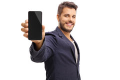 Young guy showing a phone Stock Photos