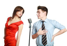Young guy singing to a pretty girl Stock Image
