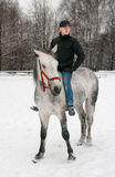The young guy  sits on is light grey horse Royalty Free Stock Images