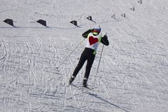 Young guy skier turning in powder snow blue jacket black pant stock photo