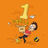 The young guy slipped on a banana with a box in his hands. Holiday 1 April fool`s day. Vector illustration Stock Image