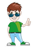 Young guy with sunglasses and thumb up. Isolated illustration of a Young guy with sunglasses and thumb up Stock Image