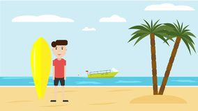 Young guy with surfboard on beach vector flat design. Surfer on sea beach on summer sunny day. Active vacation concept stock illustration