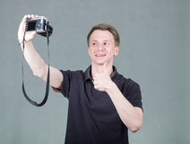 Young guy taking selfie Stock Photography